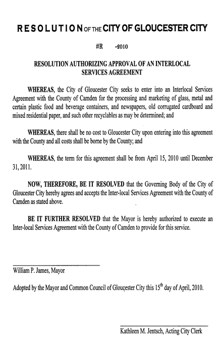 City Of Gloucester City Interlocal Service Agreement With Camden