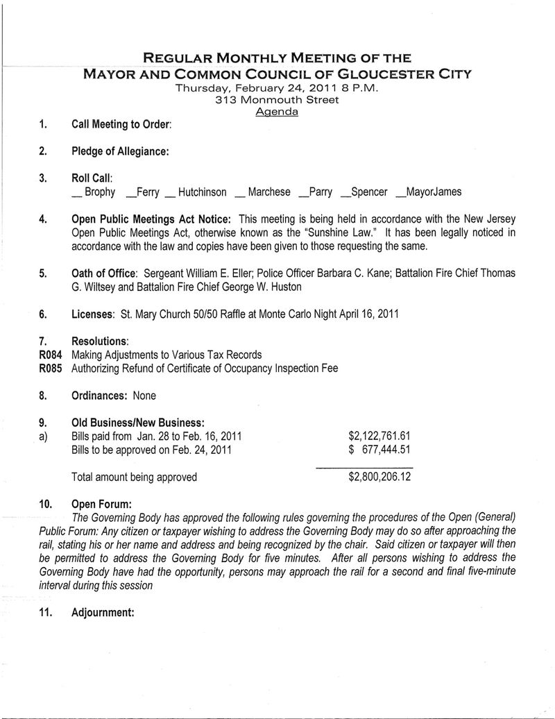 Council Meeting Agenda for Feb 24 2011
