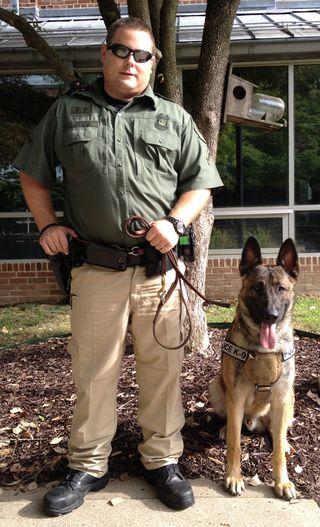 ECU Officers Tyler Austin and K-9 Diesel