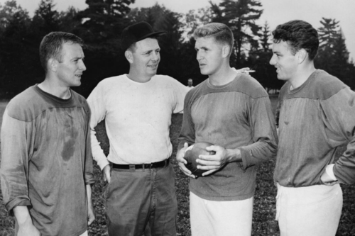 Buddy-Parker-and-QBs-TedM-JackScarbath-LenDawson-preseason1957