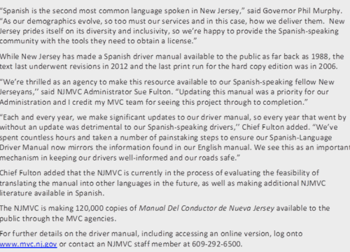 Updated Spanish Driver Manual Now Available at NJMVC (CNBNews)