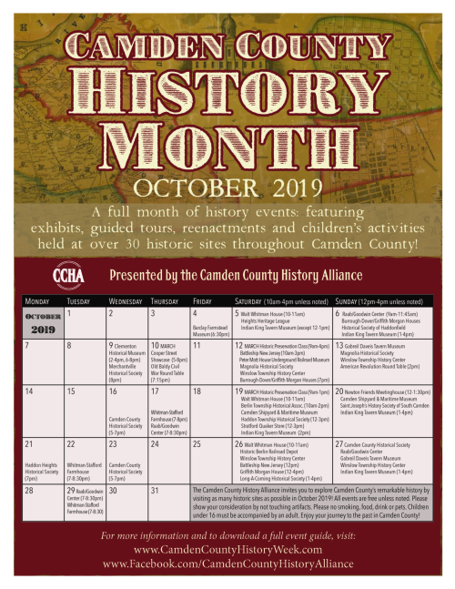 History Month 2019 Flyer with Calendar
