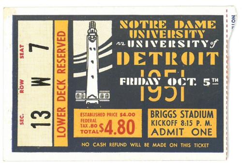Notre-Dame-1951-Briggs-Stadium-Ticket